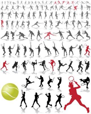 Fototapeta Sylwetki i cienie tenisistów, ilustracji wektorowych