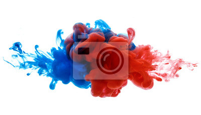 Fototapeta Symbol rywalizacji i walki lub łączenia związku. Atrament w wodzie czerwony i niebieski na białym tle