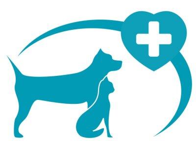 Fototapeta Symbol weterynarii z pedigreed pies, kot na białym tle