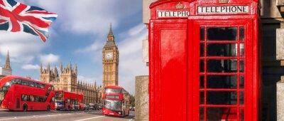 Fototapeta Symbole Londynu z BIG BEN, DOUBLE DECKER BUS i Red Phone Booths w Anglii, Wielkiej Brytanii