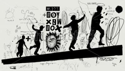 Fototapeta Symboliczny obraz chłopców, którzy na na logu