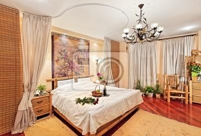 Sypialnia Styl średniowiecznego Z łóżkiem Z Baldachimem Na Szeroki Fototapety Redro