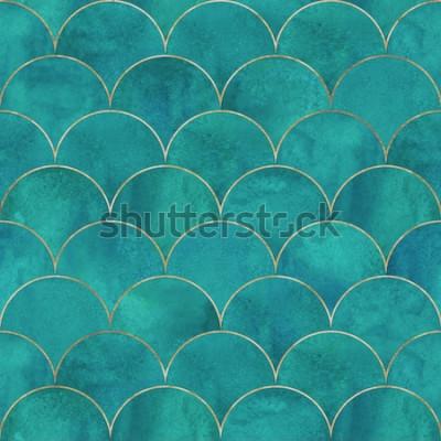 Fototapeta Syrenka rybie łuski fala japoński luksusowy bezszwowy wzór. Akwarela ręcznie rysowane turkusowy ciemny turkusowy tło z złotą linią. Tekstura w kształcie skali akwarela. Druk na tekstyliach, tapetach,