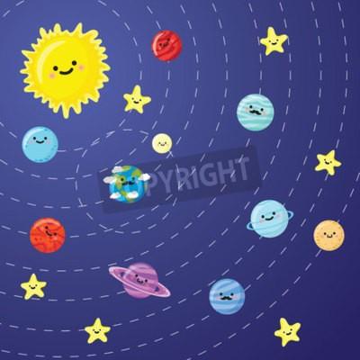 Fototapeta system słoneczny z cute uśmiechnięta planet, słońca i księżyca. ilustracji wektorowych