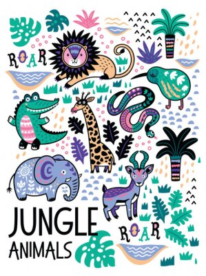 Fototapeta Szablon bez szwu deseń z zwierząt dżungli wektora