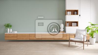 Fototapeta Szafka TV i wyświetlacz z drewnianą podłogą i pastelową zieloną ścianą, minimalistycznym i zabytkowym wnętrzem salonu, renderowanie 3d