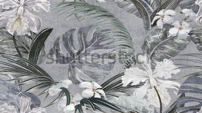 Fototapeta Szare tropikalne liście wzór