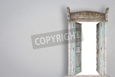 Fototapeta Szary stylu retro drewniane drzwi na ścianie cementu tle gery