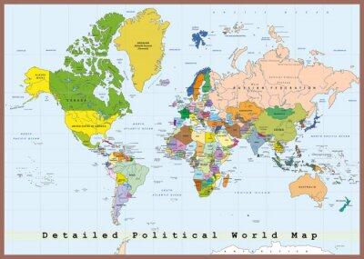 Fototapeta Szczegółowa Mapa Świata polityczna