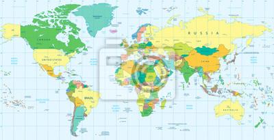 Fototapeta Szczegółowa mapa świata polityki