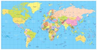 Fototapeta Szczegółowa mapa świata polityki: państwa, miasta, obiekty wodne