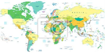 Fototapeta Szczegółowa mapa świata polityki samodzielnie na białym tle
