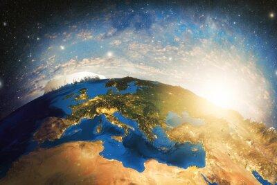 Fototapeta Szczegółowe kolorowe Ziemia planeta Ziemia bardzo szczegółowe z rana