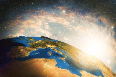 Fototapeta Szczegółowe kolorowe Ziemia, planeta Ziemia bardzo szczegółowe z rana