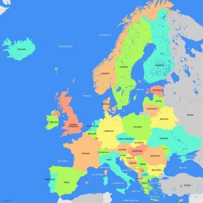 Fototapeta Szczegółowe mapy Europy