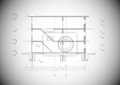 Fototapeta Szczegółowe szary punkt wektora typowej budowy domu
