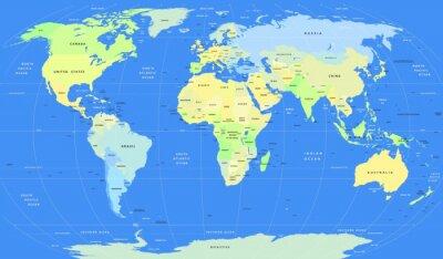 Fototapeta Szczegółowe wektora polityczna mapa świata