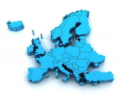 Fototapeta Szczegóły mapa Europy z granicami państwowymi