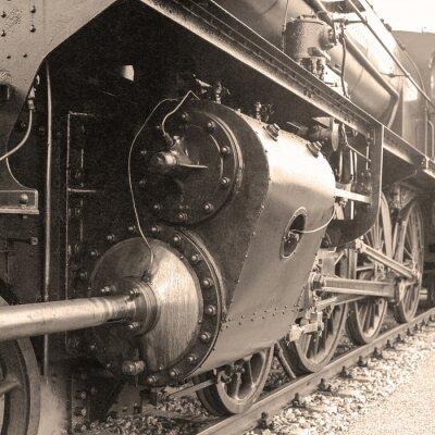 Fototapeta Szczegóły staromodny parowej lokomotywy