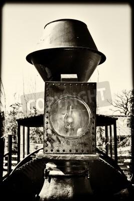 Fototapeta Szczegóły Vintage pociągu w przeliczeniu na czarno-białe
