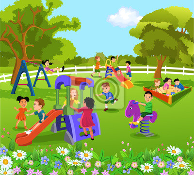 Fototapeta szczęśliwe dzieci bawiące się na podwórku na wymiar ...