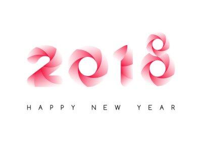 Szczęśliwego nowego roku 2018. Kolorowe kroju samodzielnie na białym tle. Kartka z życzeniami, plakat, broszura lub szablon ulotki. Ilustracji wektorowych.