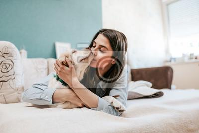 Fototapeta Szczęśliwy czas ze zwierzakiem.