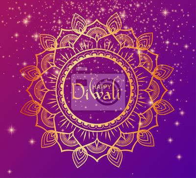 Fototapeta Szczęśliwy Diwali Hinduski plakat z złotym tradycyjnym mandala.