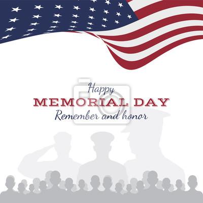 Fototapeta Szczęśliwy dzień pamięci. Kartkę z życzeniami z flagą i żołnierzem na tle. Narodowe święto amerykańskie.
