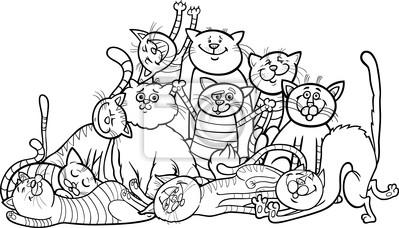 Fototapeta Szczęśliwy Grupy Koty Cartoon Dla Kolorowanka Na Wymiar