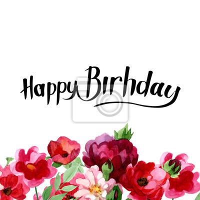 Szczęśliwy kartka urodzinowa w Akwarele ilustracji. Ten projekt może być stosowany do tła sztuki ilustracji na karcie zaproszenie lub z życzeniami z okazji urodzin ręcznie rysowane.