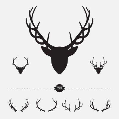 Fototapeta Szef sylwetka z jelenie poroża, ilustracji wektorowych