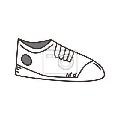 dfdc6c9ae6627 Fototapeta szkic buty sportowe na wymiar • czarny, obuwie, zmiętą ...