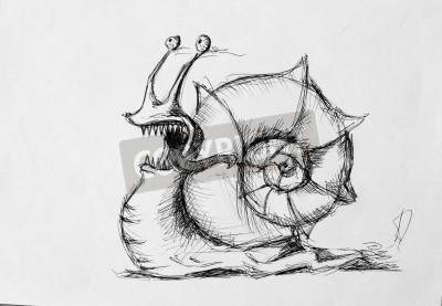 Fototapeta Szkic ślimak Rysunek Ołówkiem Dla Swojego Projektu Na