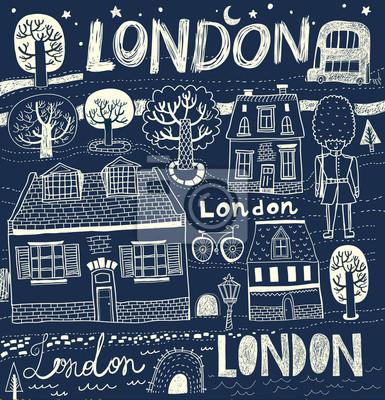 Fototapeta Szkice londyńskich ulic wektor w kolorach czarno białych