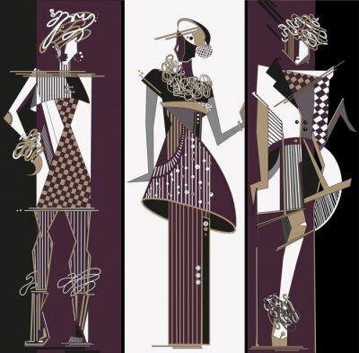 Fototapeta Szkice projektant mody z kobiet ubrania