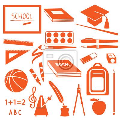 Szkoła sylwetka zestaw ikon
