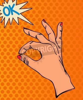 Fototapeta Sztuka ilustracji pop OK znak ręką
