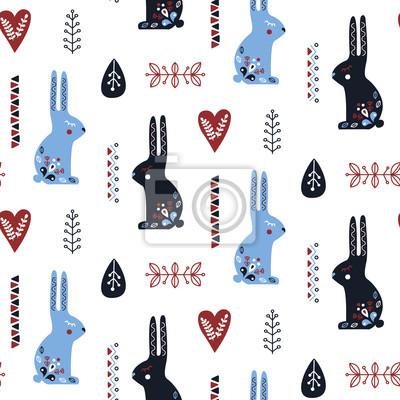 Sztuka ludowa wzór z królika i elementy dekoracyjne. Ilustracji wektorowych.