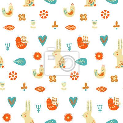 Sztuka ludowa wzór z królika, ptaków i elementy dekoracyjne. Ilustracji wektorowych.