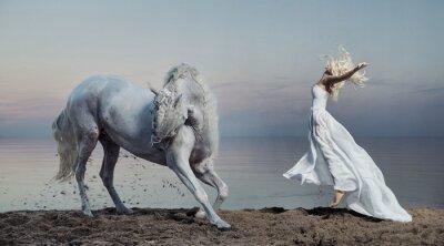 Fototapeta Sztuki fotografii kobiety z silnym koniem