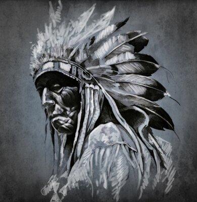Fototapeta Sztuki tatuażu, portret głowy Indian amerykańskich na ciemnym deseń