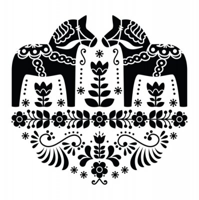 Fototapeta Szwedzki koń Dala lub Daleclarian ludowa w czarny wzór