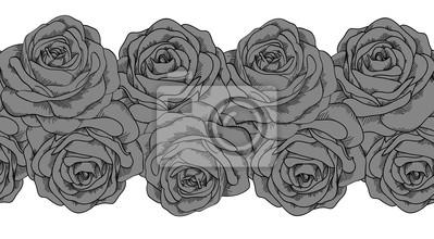 szwu poziome szare róże z czarną obwódką