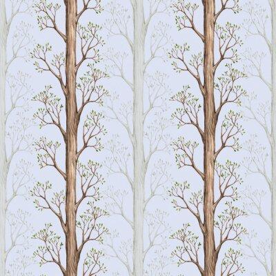 Fototapeta Szwu z ilustracji drzewa akwarela