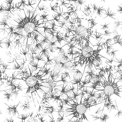Fototapeta Szwu z mniszka lekarskiego. Ręcznie rysowane tła kwiatu. Mo