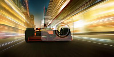 Fototapeta Szybka jazda samochodem wyścigowym w celu osiągnięcia mistrzowskiego efektu, rozmycia i efektu oświetlenia. Renderowanie 3D i skład mieszanych mediów.