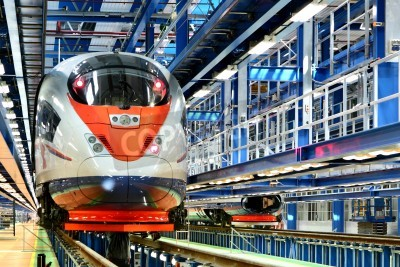 Fototapeta szybki pociąg w zajezdni usług