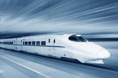 Fototapeta Szybki pociąg z motion blur.