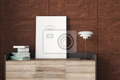 Fototapeta Table with empty poster